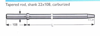 China Hole Dia. 32mm, 34mm taper degree 7, 11, 12, 22*108mm shank size hexagonal tapered drill rod for granite distributor